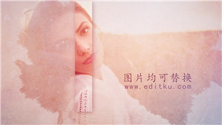 PR模板制作水墨暈染大文字遮罩創意優雅宣傳視頻唯婚禮相冊片頭動畫