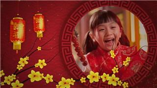中文AE模板中国新年拜年视频公司年度春节祝福宣传动画制作